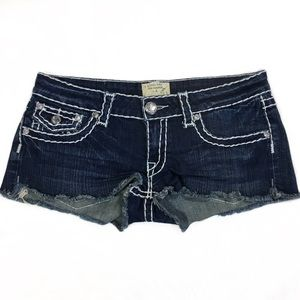 Thick stitch Frayed Hem Shorts